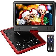 """Reproductor de DVD Portátil de 9.5"""" con Pantalla Giratoria, 5 Horas recargable incorporada de la batería, Compatible con Tarjetas SD y USB, con el cargador del coche y dispositivo de juego - Rojo"""