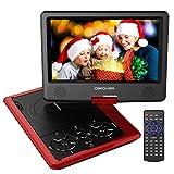 9.5'' Tragbarer DVD-Player, 5 Stunden Akku, schwenkbaren Bildschirm, unterstützt SD-Karte und USB, mit Spiele-Joystick, Auto-Ladegerät - Rot