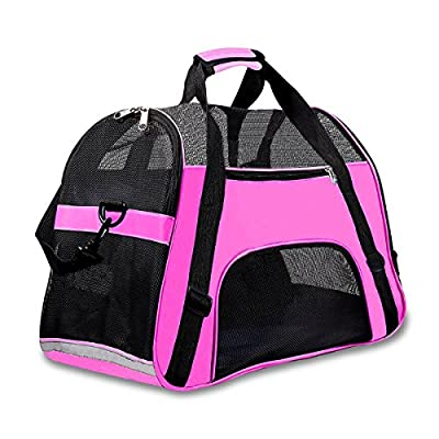 Display4top 46cm x 25cm x 28cm Pet Travel Carrier Comfort Expandable Foldable Travel Carriers for Dogs and Cats(Large Pink) by Display4top
