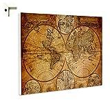 B-wie-Bilder.de Magnettafel Pinnwand Memoboard mit Motiv Weltkarte Globus Antik Größe 80 x 60 cm