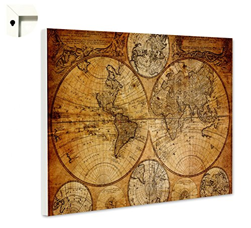 Magnettafel Pinnwand mit Motiv Weltkarte Globus Antik Größe 80 x 60 cm