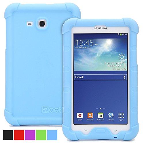 Funda Galaxy Tab 3 lite 7.0 / Galaxy Tab E Lite 7.0 - Poetic [Serie Turtle Skin] Funda Galaxy Tab 3 lite 7.0 / Galaxy Tab E Lite 7.0 - [Protección Esquina/Parachoques] [Amplificación de Sonido] Funda Protectora de Silicón para Samsung Galaxy Tab 3 Lite 7.0 (2014) / Galaxy Tab E Lite 7.0 (2016) Azul (3 Años Garantía del Fabricante Poetic)