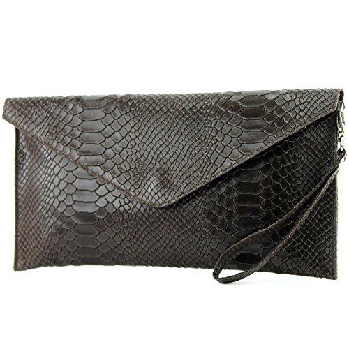 Modamoda De Ital Borsa In Pelle Da Sera Frizione Polso Smooth Leather T106s Dunkelbraun