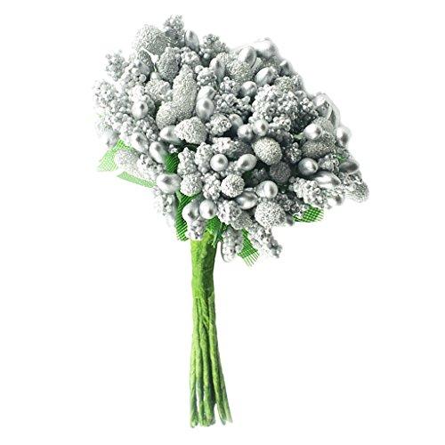 Baoblaze 12er Set Künstliche Blume Staubblatt Blütenstempel Blumen Staubblätter Blumenhaarkranz Zubehör Hochzeit Kommunion Taufe Party Dekoration - Silber (1. Kuchen Kommunion Dekorationen)