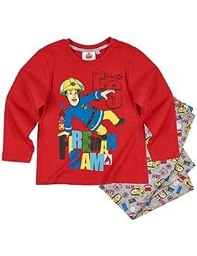 Feuerwehrmann Sam Jungen Pyjama Schlafanzug - blau