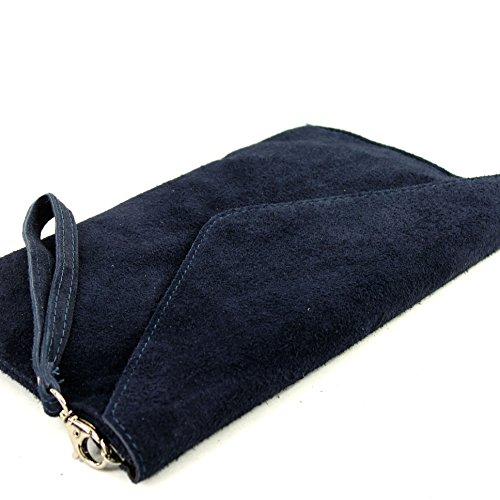 modamoda de–Pochette italiana in pelle, con passante, da donna, camoscio, T106 Dunkelblau
