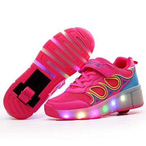 Hiver patinage shoelace lumière LED émettant chaussures unisexes chaussures Rose