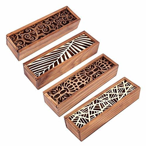 Generic 3: Hohl Holz Bleistift Fall Aufbewahrungsbox braun Swirl Gras/Sym Textur/Geometrische Patch/Leaf Typ Bleistift Fall Boxen Schule Geschenk (Patches Geometrische)