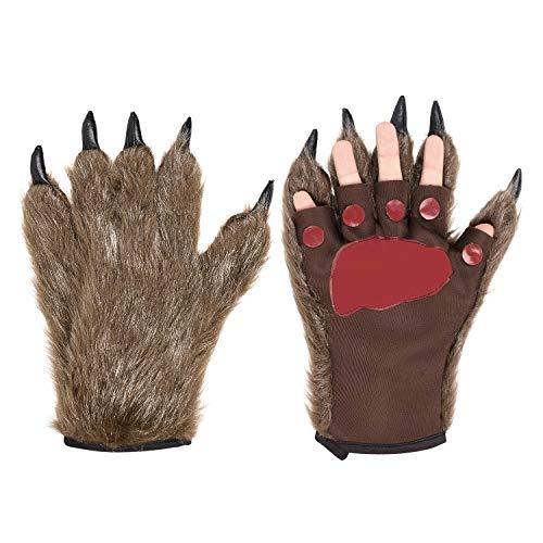 Skurrile Kostüm - Halloween Handschuhe EIN Paar Wolf Pfote Cosplay Kostüm Dekoration Tiertatzen Warm Plüsch Fantasie Haarige Monster-Hände Unisex Werwolf Hände One Size Cartoon Handschuhe für Frauen Männer