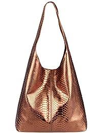 f91fb284642f6 OBC Made IN Italy Damen Leder Hand-Tasche METALLIC Shopper Schultertasche  Hobo-Bag Henkeltasche…