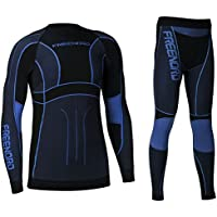 Freenord Powertech Herren Funktionswäsche Thermoaktiv Atmungsaktiv Base Layer Set Outdoor Radsport Running