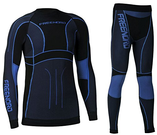 Freenord Powertech Herren Funktionswäsche Thermoaktiv Atmungsaktiv Base Layer Set Outdoor Radsport Running (Schwarz/Blau, XL)