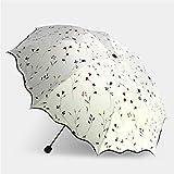 Kompakter, Schnell trocknender Reisesonnenschirm, Leichter zusammenklappbarer UV-Sonnenschutz, Rutschfester Griff für Einfaches Tragen (Farbe : Weiß)