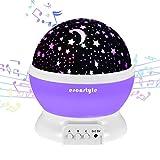 Esonstyle Recargable de 360 Grados Luz nocturna Giratoria Lámpara Proyector Lámpara Musical Del bebé con 12 Tipos Luz Música para el Cuarto de Bebé