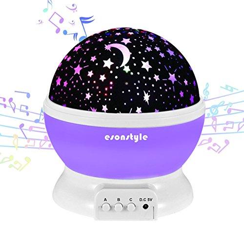 Esonstyle Wiederaufladbare 360 Grad Drehende Nachtlicht Projektor Baby Musical Mond und Himmel Licht mit 12Licht Musik für Baby Zimmer, Schlafzimmer, Kinderzimmer, Halloween, Weihnachten(Lila)
