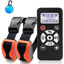 Collar De Adiestramiento entrenamiento Para Perros, Rango De 800 Metros Recargable, Resistente Al Agua, vibración, Sonido, Control de automatización, dispositivo de LCD, control de dos perros