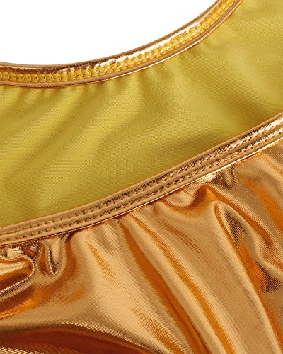 Freebily Dame Lackleder Body String Hydrasuit Bodysuit Wetlook Thong Leotard Badeanzug Bademode Schwimmanzug Tankini Sportbody Golden