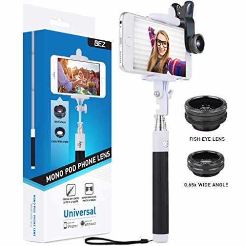 Selfie Stick, Selfie Stange, Monopod + 3 in 1 Fischaugenobjektiv, Weitwinkelobjektiv, Makrotelefonlinsen Set für Smarttelefone [iOS und Android] wie iPhone 6 plus/6/5s/5SE/4, Samsung Galaxy S6/S5/S4/S3/Note 4/3, Sony Xperia, Microsoft Phones, HTC, LG, GPS usw.