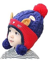 MILEEO Bonnet Bebe, Bébé enfants tout-petits filles chapeau chaud bonnet  hiver bonnet chapeau 338b90dfaf1