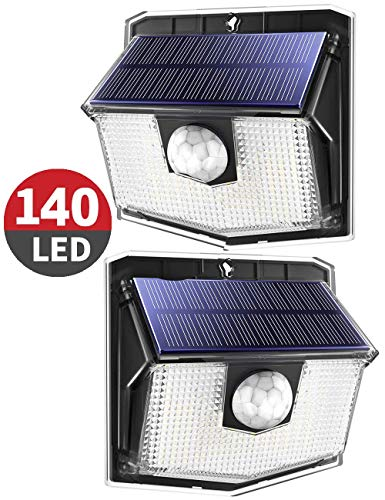 140 LED Solarlampen für außen【Kompakte Version 2020】Mpow Solarleuchte,270°Beleuchtungswinkel,3 Modi,IP67 Schutzart,led solar bewegungsmelder außen,Solarlampe für Garage,Hoftür,Treppen,Einfahrt-2 Stück