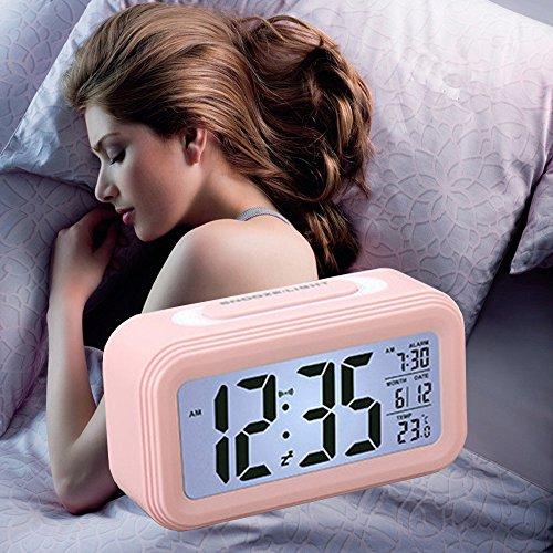 Smart LED Wecker, SHAWE Digital-Wecker mit extra großem Display, Snooze , Datumsanzeige, Temperatur,batteriebetriebener (Rosa)