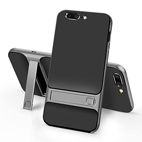 Sanchar's For 2in1 Kick Stand Shockproof Dual Layer Back Case Cover For Oneplus 5 / One plus 5 / 1+5 Case cover (black/Gray)