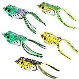 #5: Isafish Topwater Frog Lure Kit Set Pack of 5 Pcs 2.16