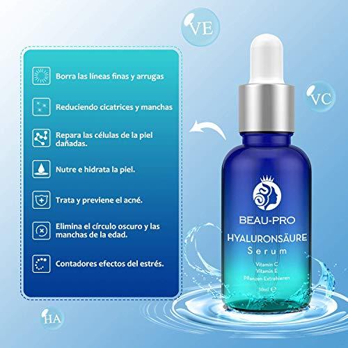 Vitamin C Hyaluronsäure Serum für Gesicht,Hyaluron Konzentrat,Anti-Aging Gesichtsserum,mit Organischen Inhaltsstoffen|Vitamin C+E,Feuchtigkeitscreme,Collagen-Booster für alle Hauttypen - 30ml