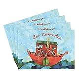 4er Set Glückwunschkarten zur Kommunion, Glückwunsch, Arche mit Tieren, grün, blau, rot I Konfirmationskarten mit Schiff, Kommunionkarten mit Boot, Einladung, Danksagung