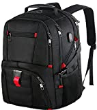 17 Zoll Laptop Rucksack, langlebige große Kapazität TSA Scansmart Computer Reise Laptop Rucksack mit USB Ladeanschluss, wasserdicht Schulrucksack für Männer Frauen Damen, passt Dell HP Asus Laptop, schwarz