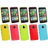 Emartbuy® Microsoft Lumia 640 XL 3G 4G LTE / Lumia 640 XL 3G 4G LTE Dual Sim Glänzend Gloss Gel Skin Tasche Hülle Packung 5 - Hot Rosa, Rot, Blau, Gelb, Grün