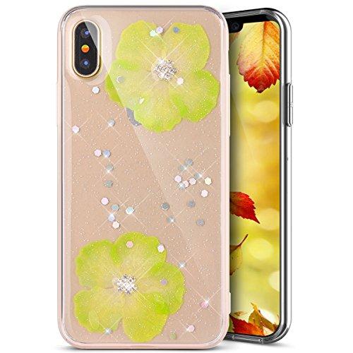 Custodia Cover iPhone X iPhone 10 Silicone Morbida,Ukayfe Trasparente Cristallo di Lusso di Bling Glitter Paillettes Strass e Fiore Colorato Disegno Diamante per iPhone X iPhone 10 Clear Flexible TPU  Verde 2#