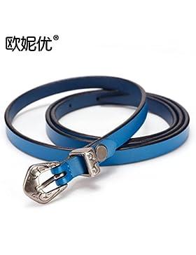 SILIU*Correa de cuero fino decorado mujer vestidos moda Jeans cintura alumnas , cuero azul salvaje