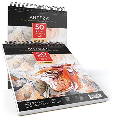 """Arteza Zeichenblock — Malblock mit Spiralbindung — Weißes 20,3 x 25,4cm (8 x 10"""") Zeichenpapier — 50 Blätter 2er-Set"""