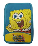 ANTHER Plumier infantil Bob Esponja doble color azul con material escolar 20x14x3 cm