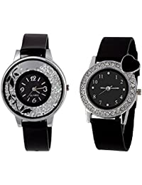 Xforia Girls Watch Rubber Band Black & Heart Dial Watches For Women (Pack Of 2 VS-FLX-630)