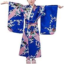 KRUIHAN Niños Yukata Vendimia Estilo Japones - Niña Kimono Tradicional Ropa Seda Tela Túnica Desgaste Boda