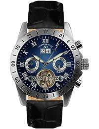 André Belfort 410016 - Reloj analógico de caballero automático con correa de piel negra - sumergible a 50 metros