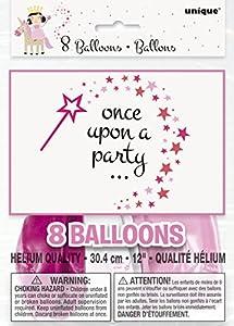 Unique Party- Globos de Látex Fiesta de Princesa y Unicornio, 8 Unidades (54835)
