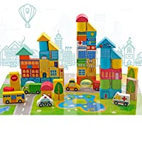 Onshine 62pcs Urban Traffic Building Blocks Toys Wooden Building Shape Bricks Construction Puzzle Toy Set for Kids