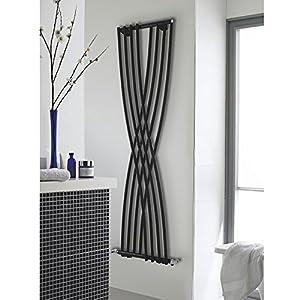 Hudson Reed HLB94–Radiador Calefactor 'Xcite' diseño vertical, de acero negro brillante, 1775x 450mm, 840W, con 8paneles largos, decorativo, de lujo, calefacción por agua