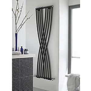 HUDSON REED - Radiateur Chauffage Central Design Vertical - Acier Noir Brillant - 178 x 45cm - 840W - Gamme XCITE