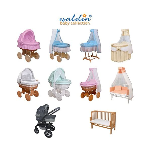 WALDIN Baby wicker cradle, Moses basket,18 models available,white painted stand/wheels,textile colour white  For more models and colours click on WALDIN under the title Bassinet complete with bedding and stand Certified to safety standard EN 1130-1/2 2