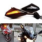 Motorrad Rückspiegel mit LED-Blinker Integrierter Indikator für CBR GSXR YZF Sportfahrrad Rennräder (Schwarz Glänzend + Klare Linse)