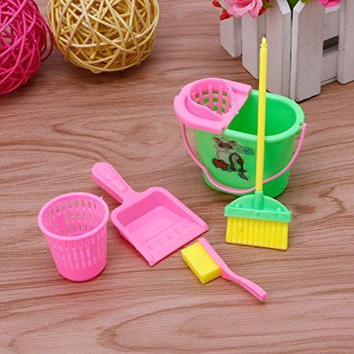 Kofun Barbie Puppe Reinigung Reiniger Kit Set 6 Stücke Wohnmöbel Einrichtung Für Haus Farben Nach Dem Zufall
