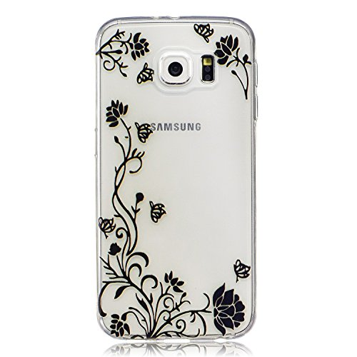 Samsung Galaxy S6 Hülle Case, Cozy Hut® [Flower Series] Ultra Dünn [Crystal Case] Transparent Soft-Flex Handyhülle / Bumper-Style Premium-TPU Silikon / Perfekte Passform / Kratzfest Schutzhülle für Samsung Galaxy S6 Case, Samsung Galaxy S6 Cover, Galaxy S6 Case, Galaxy S6 Cover, S6 Case, S6 Cover - Schwarze Blume Reben