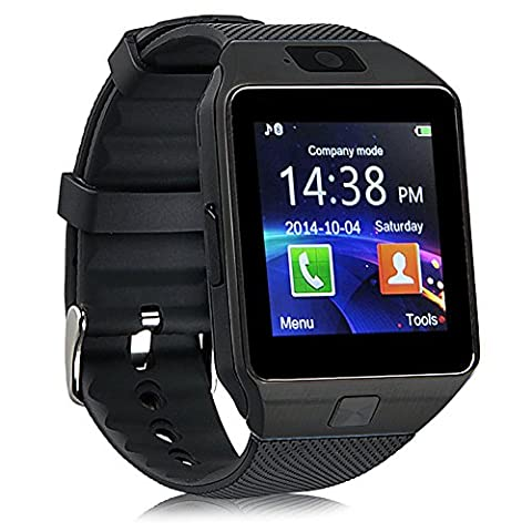 QIMAOO 1,56 Zoll Bluetooth Smartwatch DZ09 für Android Samsung Galaxy S6/S7/S8/iPhone 7 Plus/6/5 mit Kamera SIM SD (Fitness Einzel)