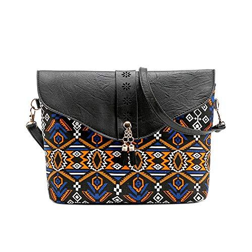 NMERWT Mode Women Schultertaschen Vintage Blumendruck Kleine Handbags Bag Sweet Pattern Kontrastfarbe Shoulder Messenger Bag