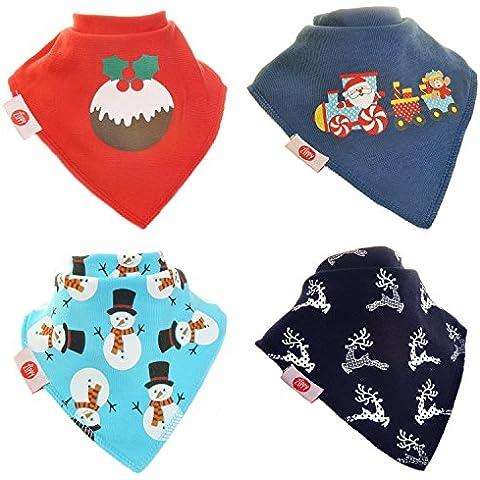 Zippy Fun Natale Baby–Bavaglino a bandana iper assorbente, 100% cotone
