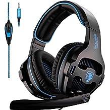 Sades SA810 Gaming Headset NEUF MIS à jour Xbox One Casque Over Ear stéréo casque de jeu basse Gaming casque avec micro pour isolation acoustique NEUF Xbox One PC PS4 pour ordinateur portable téléphone (NEUF Noir Version)